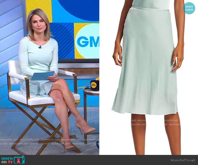 Velvet Slip Skirt by Helmut Lang worn by Amy Robach  on Good Morning America