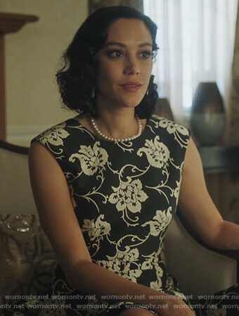 Hermosa's black floral sleeveless dress on Riverdale