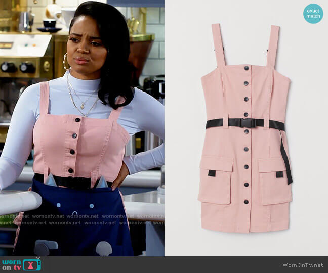 H&M Denim Overall Dress worn by Randi (Kyla Pratt) on Call Me Kat