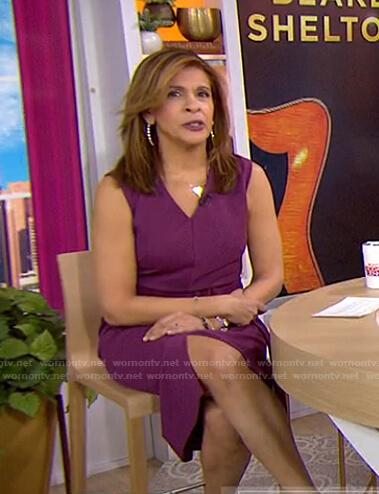 Hoda's purple belted sleeveless dress on Today