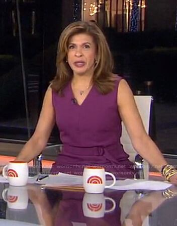 Hoda's purple belted sleeveless dress on Today