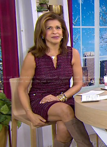 Hoda's burgundy tweed dress on Today