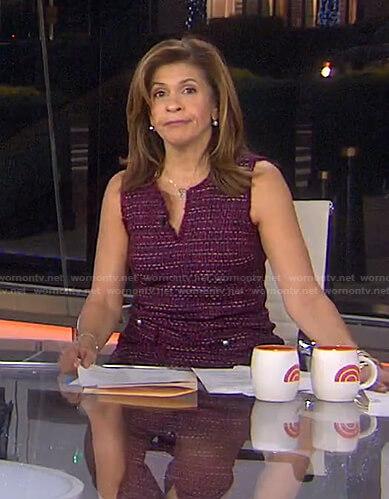 Hoda's burgundy tweed dress on Today