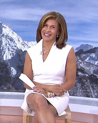Hoda's white faux wrap slit dress on Today