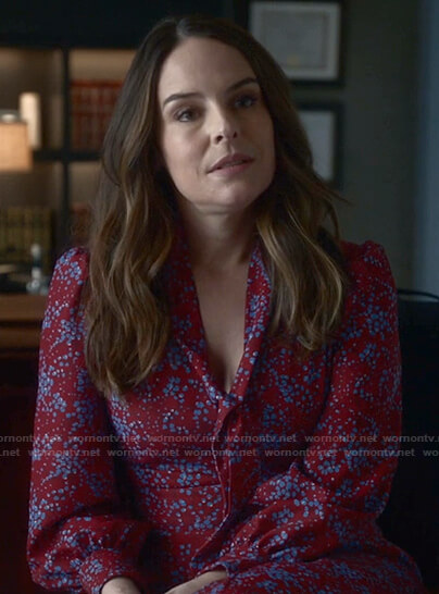 Izzy's red floral tie neck dress on Bull