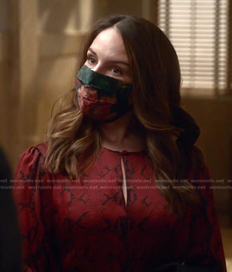 Izzy's red snake print blouse on Bull