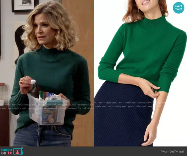 J. Crew Cashmere Mock Neck Sweater worn by Jean Raines (Kyra Sedgwick) on Call Your Mother