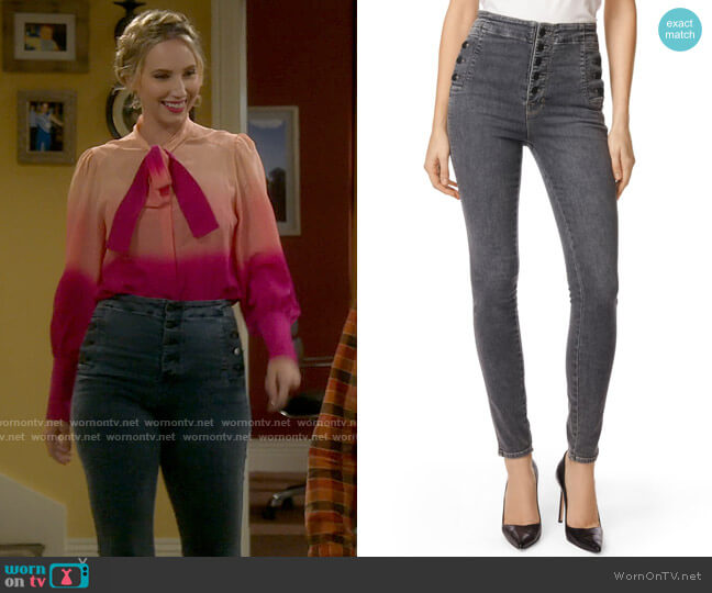 J Brand Natasha Jeans in Obscura worn by Mandy Baxter (Molly McCook) on Last Man Standing