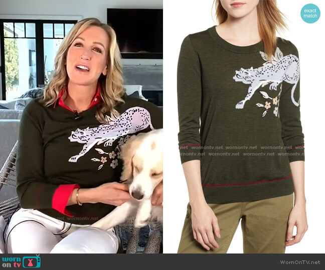 Tippi Intarsia Cheetah Sweater by J. Crew worn by Lara Spencer  on Good Morning America