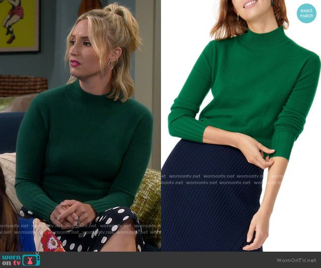 J. Crew Green Cashmere Mock Neck Sweater worn by Mandy Baxter (Molly McCook) on Last Man Standing
