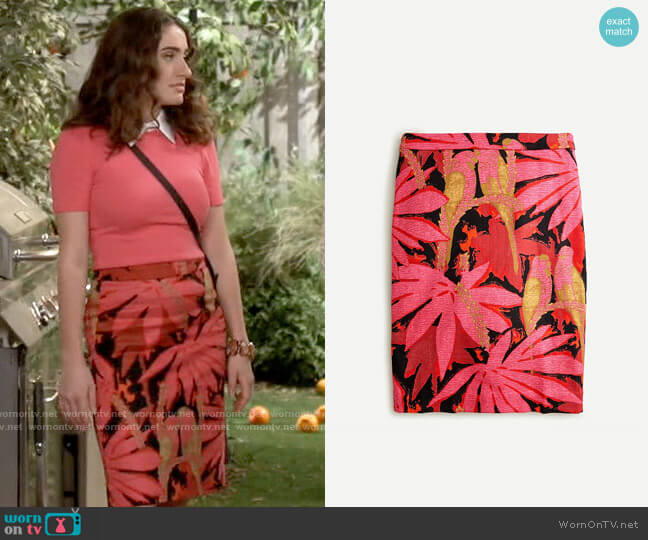 J. Crew No 2 Pencil Skirt in Palm Print Grass Cloth worn by Jackie Raines (Rachel Sennott) on Call Your Mother