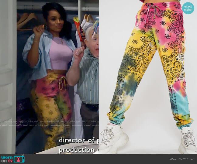 Jaded London Tie Dye Paisley Print Joggers worn by Randi (Kyla Pratt) on Call Me Kat