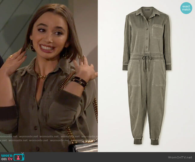 James Perse Mixed Media slub cotton-blend twill jumpsuit  worn by Celia (Emma Caymares) on Call Your Mother