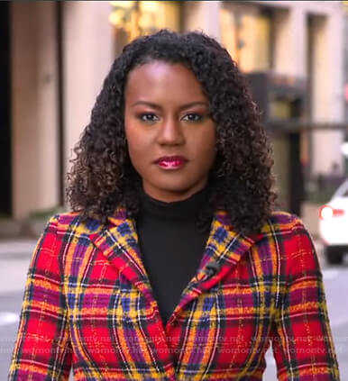Janai's red plaid coat on Good Morning America