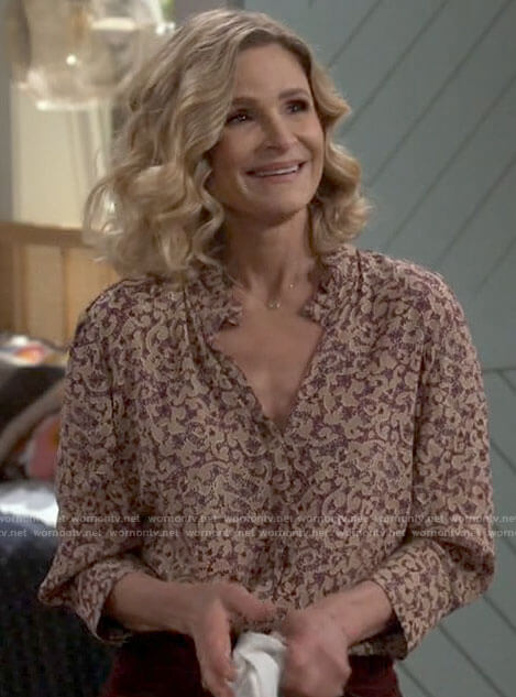 Jean's printed v-neck blouse on Call Your Mother