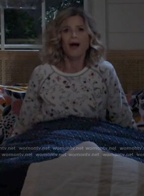 Jean's white floral pj top on Call Your Mother