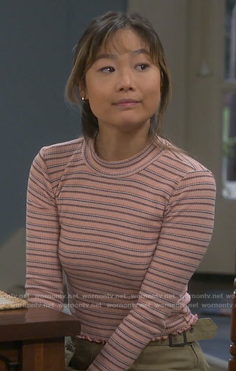 Jen's pink striped long sleeved top on Last Man Standing