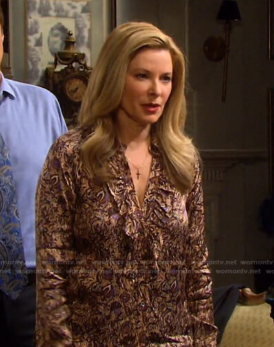 Jennifer's beige floral blouse on Days of our Lives