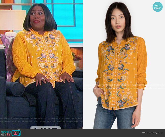 Tove Blouse by Johnny Was worn by Sheryl Underwood  on The Talk