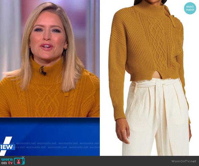 Arina Mixed Stitch Fisherman Cropped Turtleneck by Jonathan Simkhai worn by Sara Haines  on The View