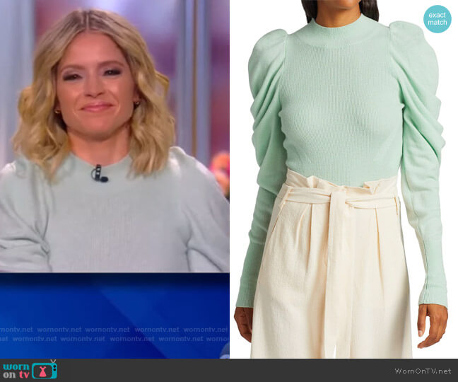 Drea Loungewear Knit Drape-Sleeve Sweater by Johathan Simkhai worn by Sara Haines  on The View