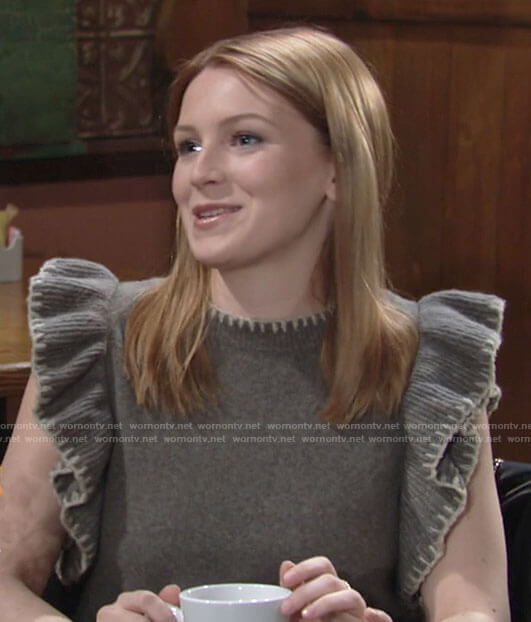 Jordan's knit top with ruffled sleeves on The Young and the Restless