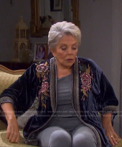 Julie's floral embroidered velvet jacket on Days of our Lives