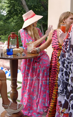 Kameron's pink floral print maxi dress on The Real Housewives of Dallas