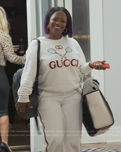Kandi's white Gucci tennis sweatshirt on The Real Housewives of Atlanta