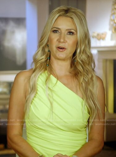 Kary's yellow ruched one-shoulder dress on The Real Housewives of Dallas