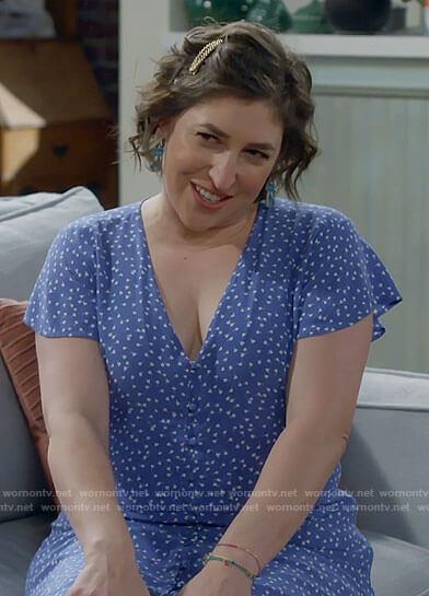 Kat's blue printed v-neck dress on Call Me Kat