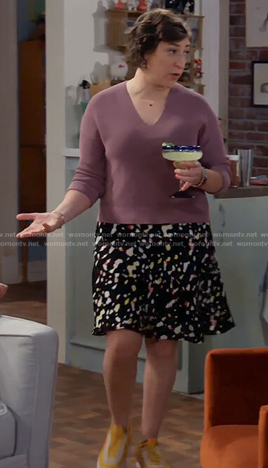 Kat's mauve v-neck sweater and printed skirt on Call Me Kat