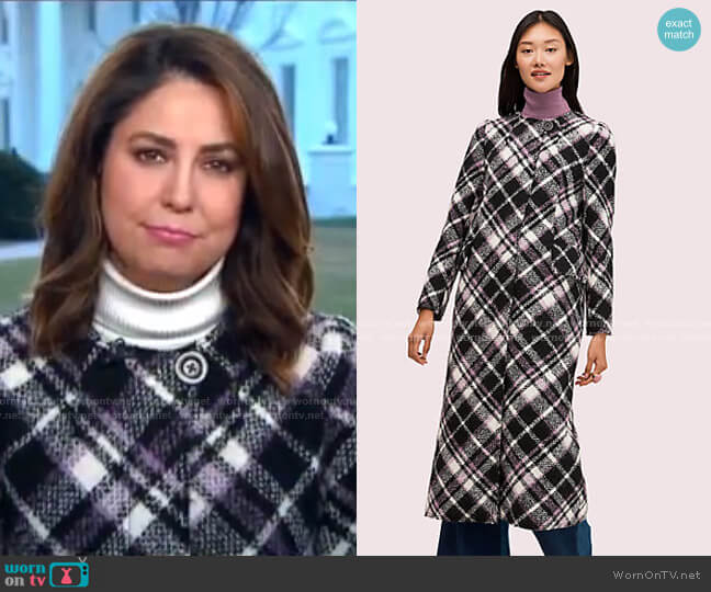 Plaid Boucle Coat by Kate Spade worn by Cecilia Vega  on Good Morning America