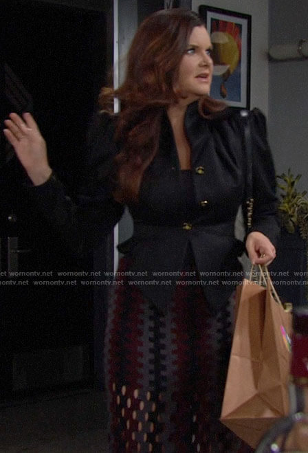 Katie's black blazer and knit skirt on The Bold and the Beautiful