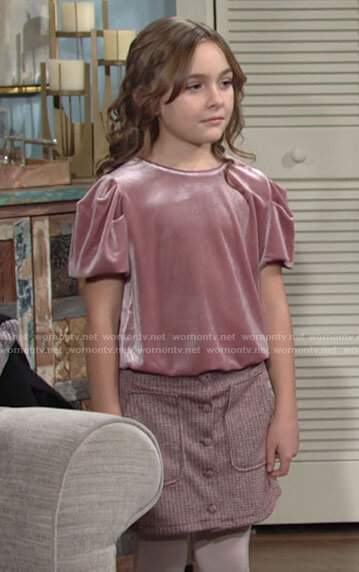 Katie's pink velvet top on The Young and the Restless