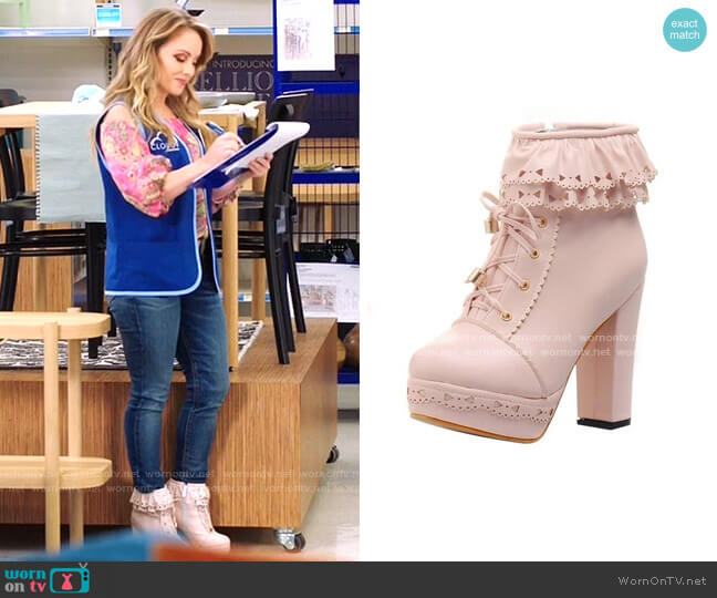 Ruffled Lace Booties by Kawaii Babe worn by Kelly Stables on Superstore