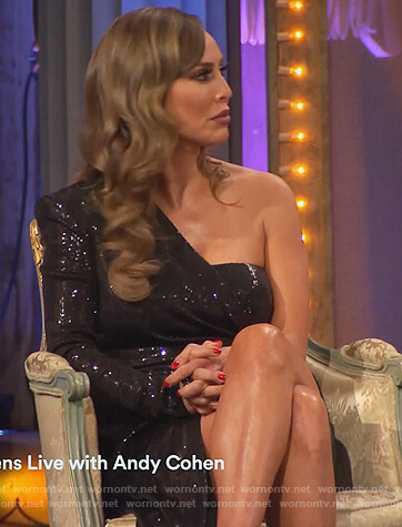 Kelly's black metallic one shoulder reunion dress on The Real Housewives of Orange County