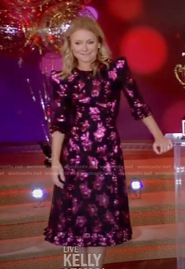Kelly's metallic floral dress on Live with Kelly and Ryan