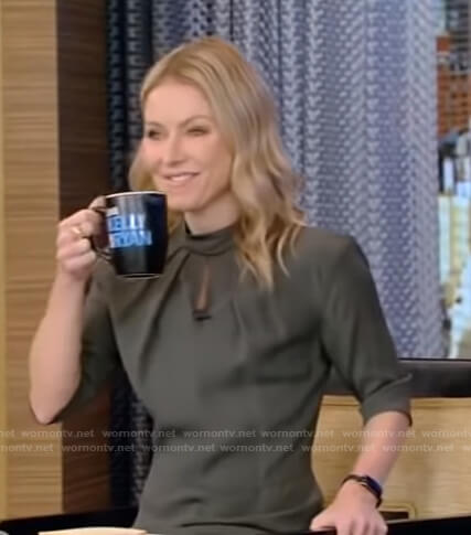 Kelly's green mock neck dress on Live with Kelly and Ryan