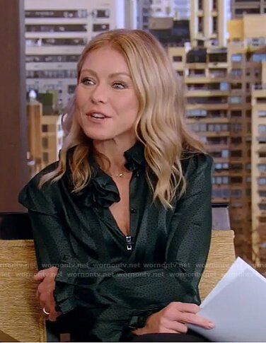 Kelly's green striped blouse on Live with Kelly and Ryan