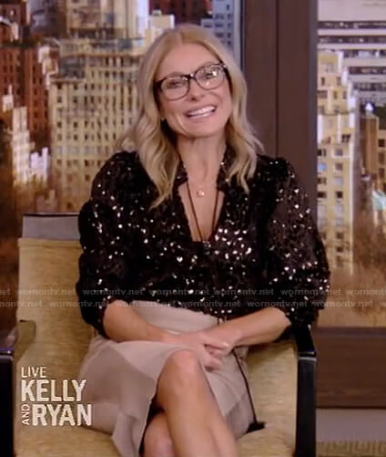 Kelly's black metallic tie neck blouse and pencil skirt on Live with Kelly and Ryan