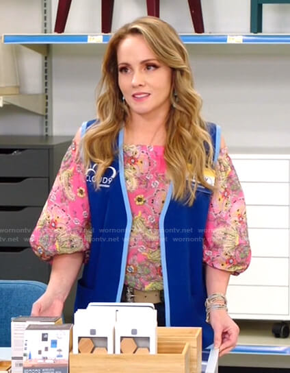 Kelly's pink floral off-shoulder top on Superstore