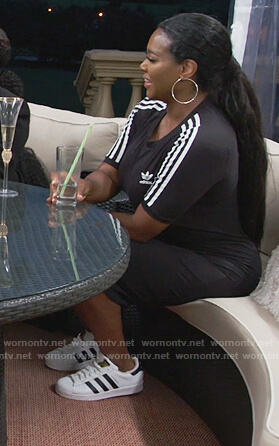Kenya's black Adidas midi dress on The Real Housewives of Atlanta