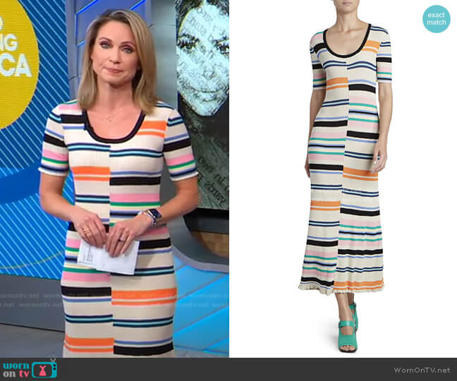 Striped Bodycon Maxi Dress by Kenzo worn by Amy Robach  on Good Morning America