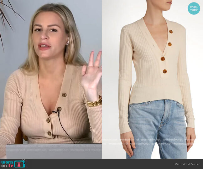 Gloria V-neck Ribbed Knit Sweater by Khaite worn by Morgan Stewart  on E! News