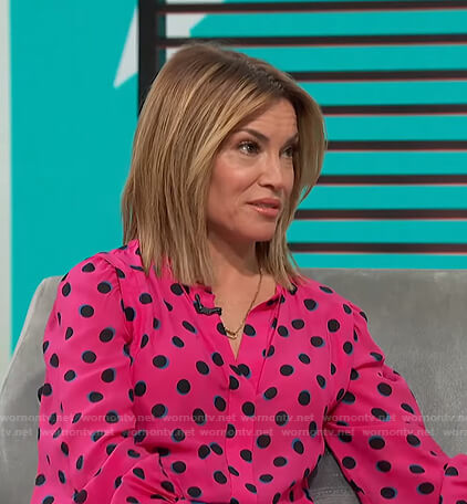 Kit's pink polka dot blouse on Access Hollywood