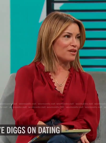 Kit's red button down blouse on Access Hollywood