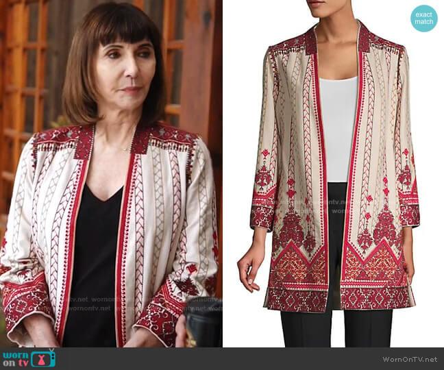 Lexy Embroidered Linen-Blend Coat by Kobi Halperin worn by Maggie Clarke (Mary Steenburgen) on Zoeys Extraordinary Playlist