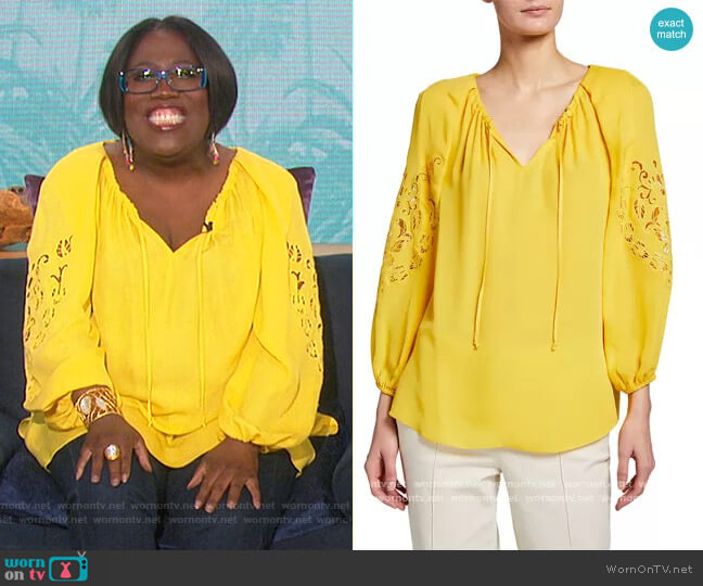 Paulina Cutout Silk Blouse by Kobi Halperin worn by Sheryl Underwood  on The Talk