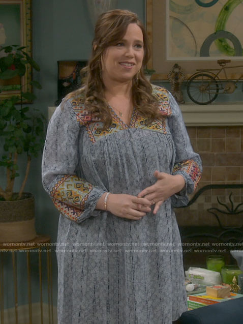 Kristin's blue embroidered tunic dress on Last Man Standing